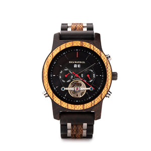 Ebony and stainless steel automatic with Multifunction month date day Chronograph Mens Watch