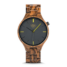Zebra Ebony Full Face Fancy Wood Mens Watch