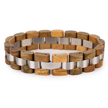 Fashion Real Natural Bamboo Wood and Metal Mens Wrist Bracelet