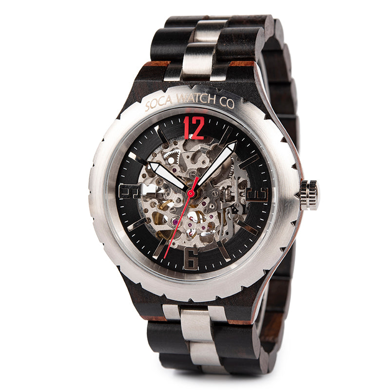 Real Ebony Wood Metal Luxury Automatic Mechanical Mens Watch