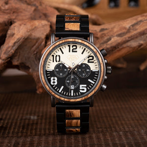 Luxury Steel and Wood with Multifunction Chronograph Mens Watch black and white