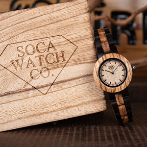 Fashion Dark Ebony and Zebra wood Womens Watch