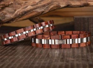 Fashion Real Natural Bamboo Cherry Wood and Metal Mens Wrist Bracelet