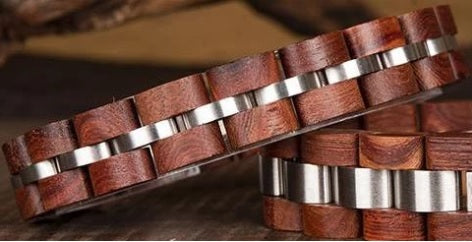 Fashion Real Natural Bamboo Cherry Wood and Metal Wrist Couples Matching Bracelets
