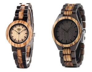 Zebra and Ebony Wood Watch Matching Couples Watch Set