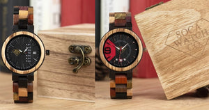 Multi Colors Ebony and Red Wood With Stylish Dial Design and Date Display Matching Couples Watch Set