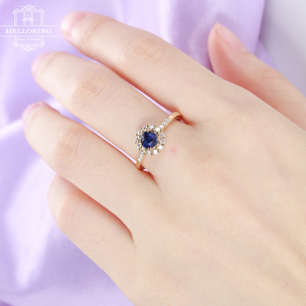 Sapphire engagement ring women, Halo Diamond Moissanite wedding ring, Unique Birthstone Prong set Jewelry, Anniversary promise gift for her