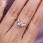 Diamond Wedding band Women Curved Baguette cut Matching Vintage Unique ring Delicate Jewelry Anniversary gift for her Personalized Prong set