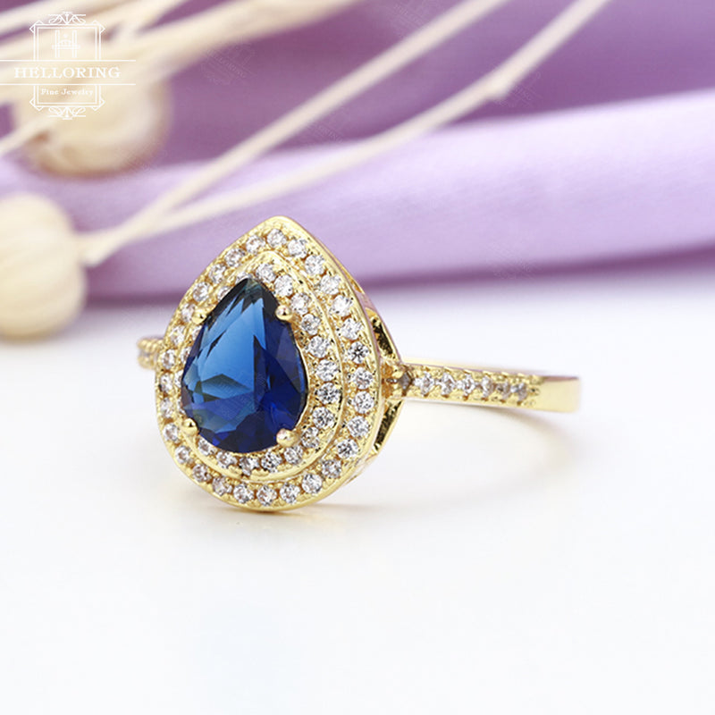 Vintage engagement ring with a pear shaped lab Sapphire and halo set diamonds or Moissanite in solid 14k gold Women Micro pave Half eternity