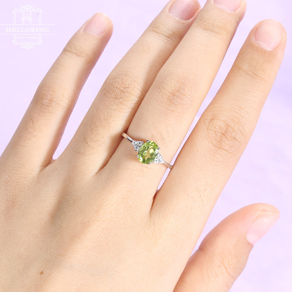 Peridot engagement ring Cluster diamond ring Women Wedding Oval Bridal Jewelry Birthstone Promise Anniversary Valentines day gift for her