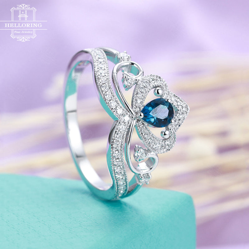 Pear shaped engagement ring white gold London blue Topaz Women Jewelry Micro pave diamond Art deco Half eternity Anniversary gift for her