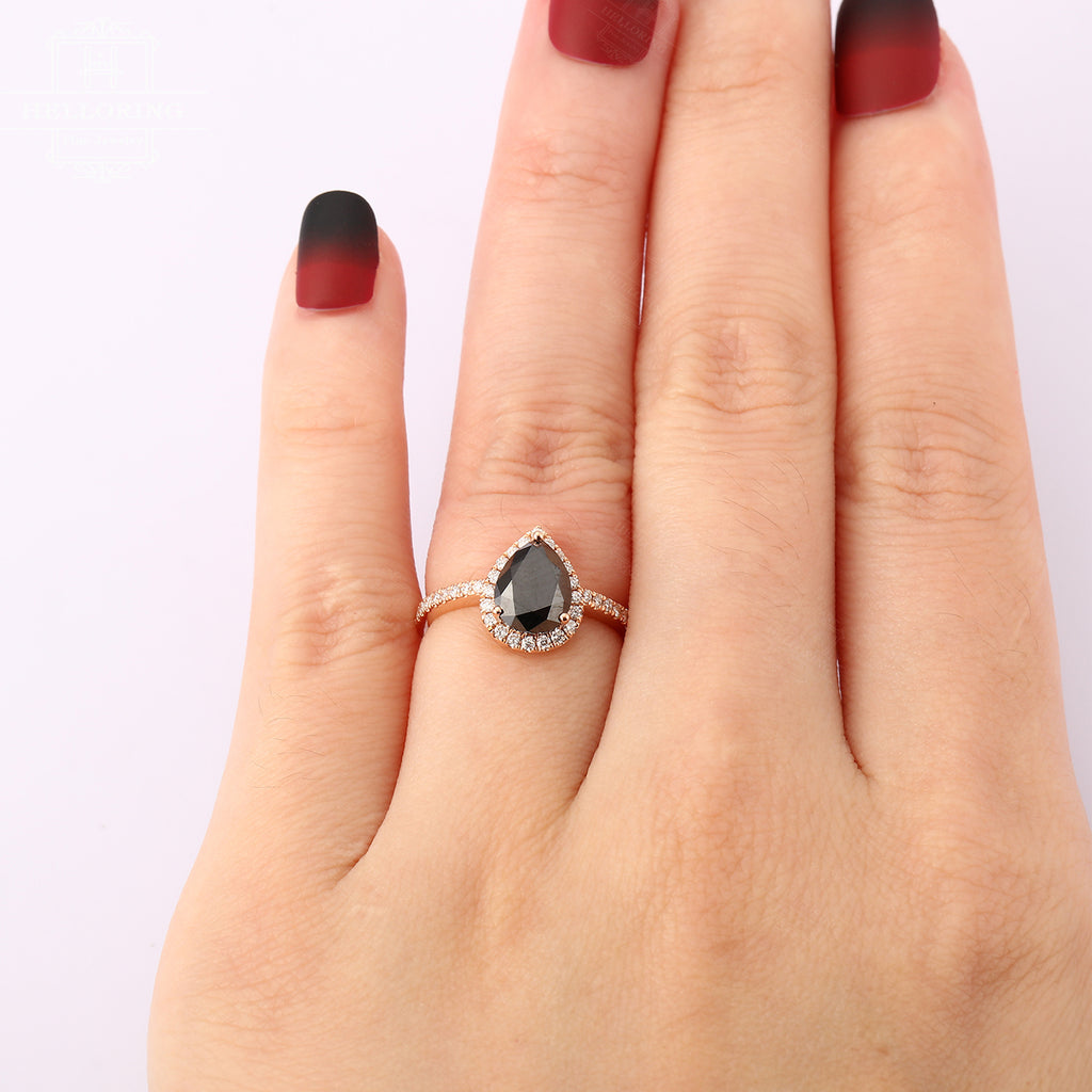 Pear Shaped Engagement ring with a black onyx in the center and halo set diamond Rose gold Women Wedding gifts for her