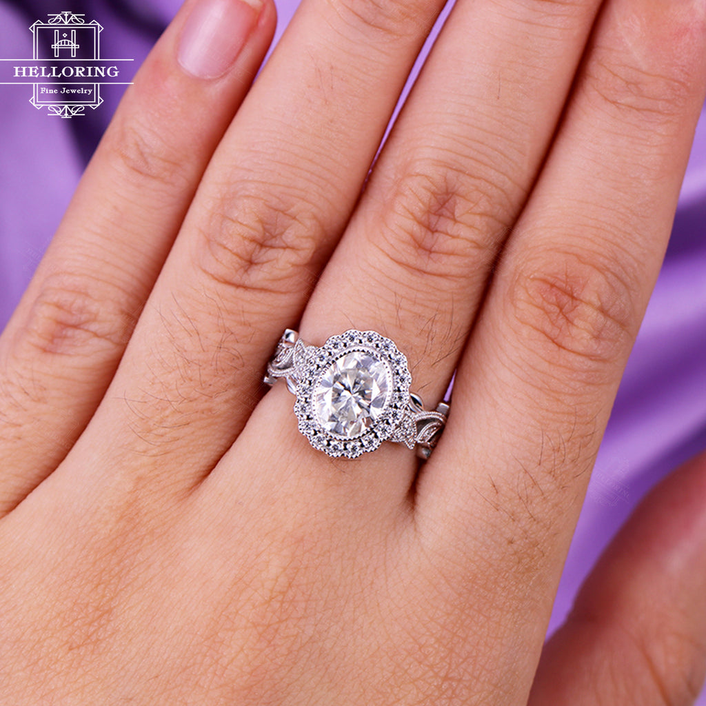 Vintage engagement ring Moissanite engagement ring Women Wedding Antique Diamond Milgrain Art deco Oval cut Bridal Jewelry Anniversary gift