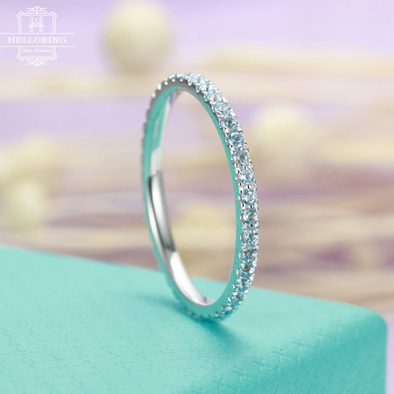 Stacking ring Blue Topaz Wedding Band women Eternity matching band Bridal Jewelry Birthstone Micro Pave Promise Everyday Anniversary gift