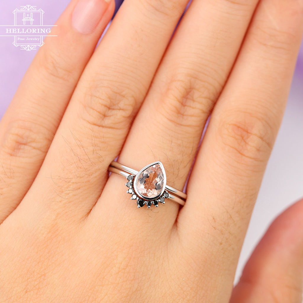 Morganite engagement ring Women Curved wedding band Vintage Black diamond Antique Pear shaped Bridal set Jewelry Anniversary gift for her