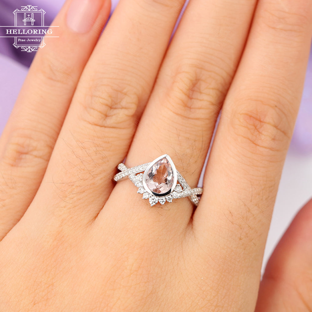 Morganite engagement ring Rose gold engagement ring Vintage Art deco Antique Diamond Twisted Wedding Women Bridal Jewelry Promise Gift