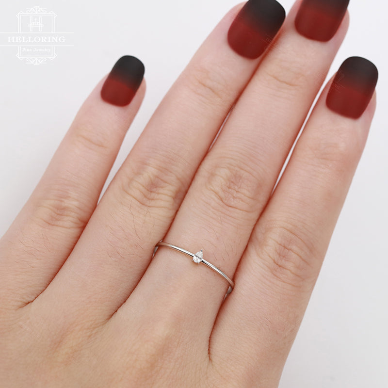 Minimalist engagement ring Pear Shaped Cut diamond Simple Engagement Ring Promise Women Dainty Stacking Wedding ring Everyday Anniversary
