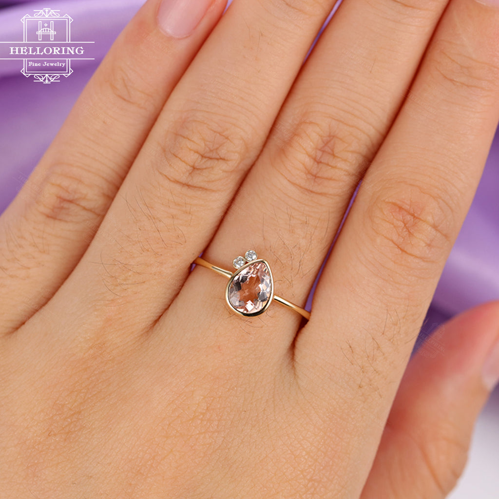 Morganite engagement ring Unique engagement ring Women Wedding Pear shaped cut Diamond Bridal Jewelry Anniversary gift for her Personalized