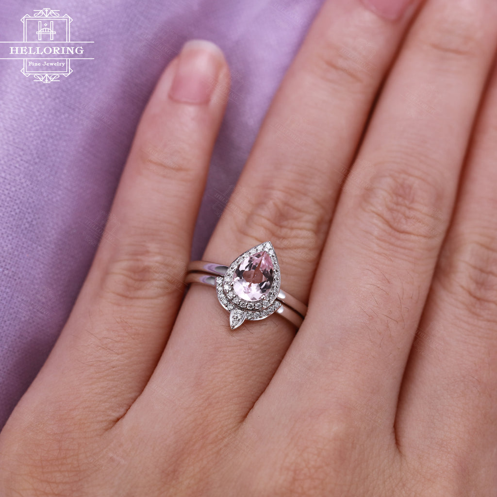 White gold engagement ring with a pear shaped pink morganite and halo diamonds Curved Wedding band Women Jewelry Anniversary gift for her
