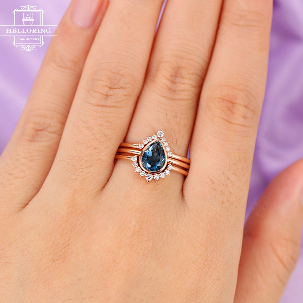 3pcs Topaz Engagement Ring London blue Rose Gold Diamond Wedding band Women Bridal set Jewelry Pear Shaped Stacking Anniversary gift for her