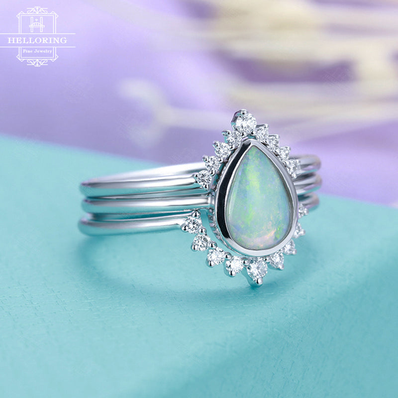 3pcs Opal engagement ring set white gold Curved wedding band diamond Women Pear shaped cut Chevron Stacking Jewelry Anniversary gift for her