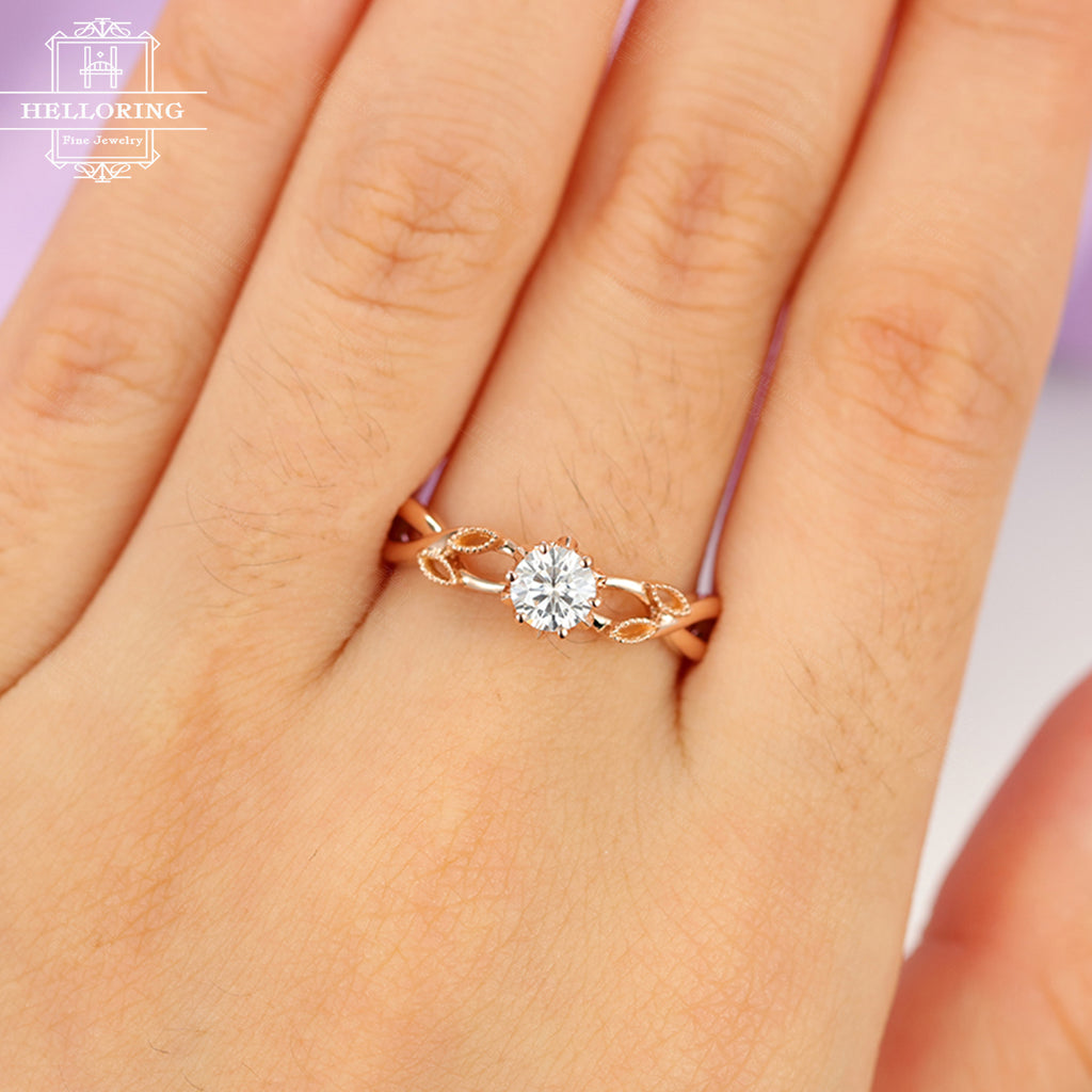 Moissanite engagement ring Rose gold engagement ring Women Wedding Diamond Milgrain Unique Leaf ring Bridal Jewelry Anniversary gift for her