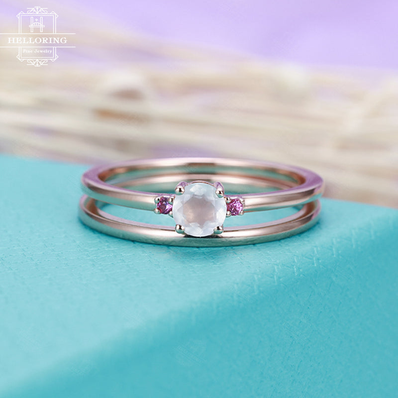 Moonstone engagement ring set Rose gold Women Delicate Wedding band Plain gold ring Pink Sapphire Minimalist Promise Unique Gift for her