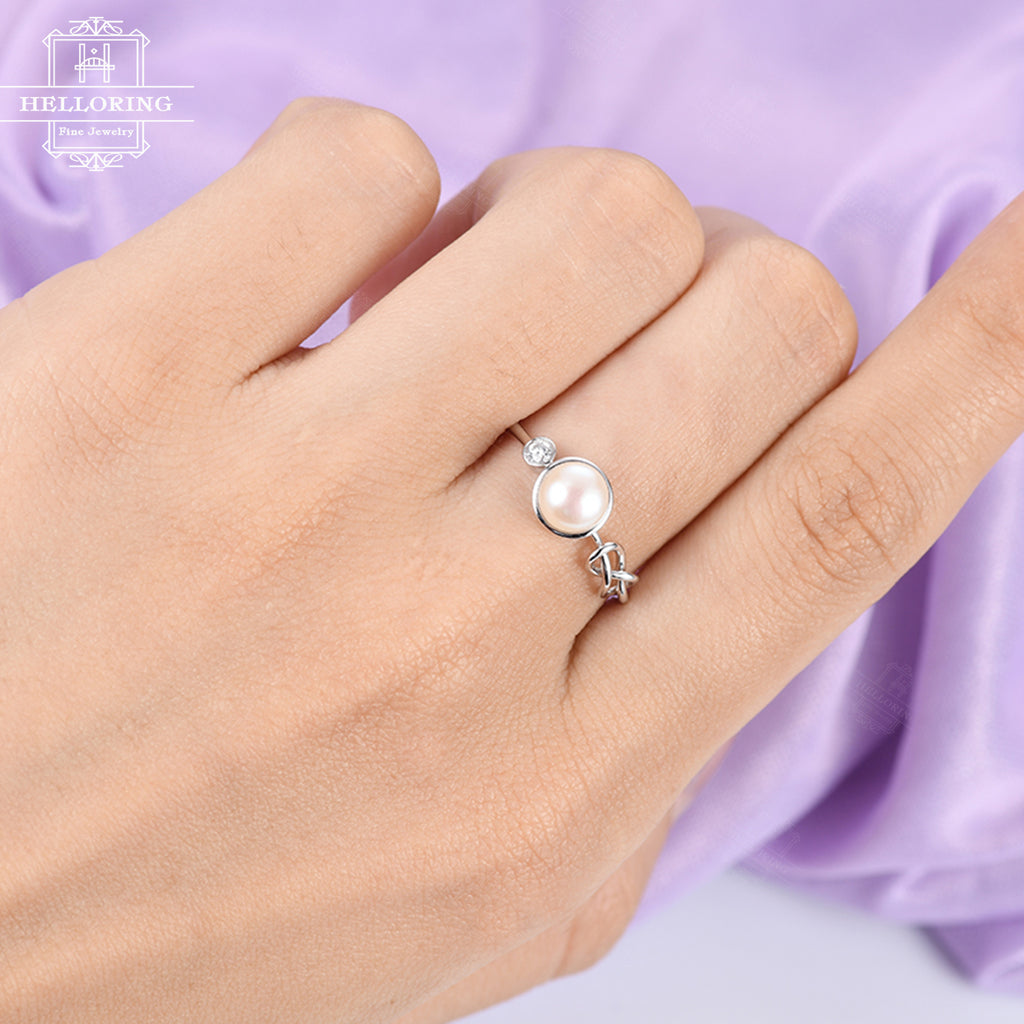 Pearl engagement ring Unique engagement ring Women Wedding Diamond Knot Bridal Jewelry Birthstone Matching Promise Anniversary gift for her