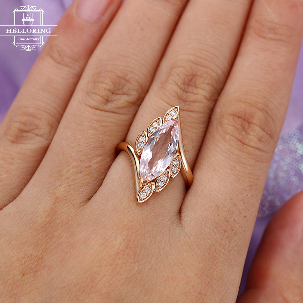 Morganite engagement ring Rose gold Vintage Marquise cut Gift for Women Diamond Leaf Antique Unique Jewelry Twisted Anniversary Alternative