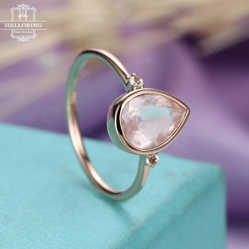 Rose quartz engagement ring Rose gold engagement ring Women Wedding Pear shaped London blue topaz Bridal Jewelry Anniversary gift for her