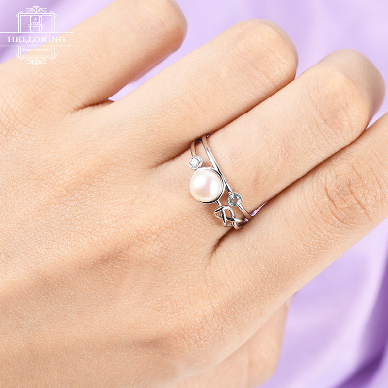 Pearl engagement ring London blue topaz wedding band Women Diamond Knot Bridal set Jewelry Birthstone Stacking Anniversary gift for her