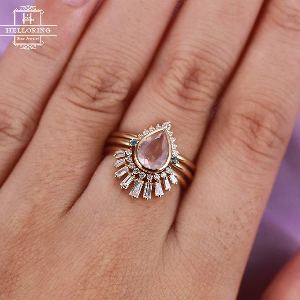 3pcs engagement ring set Women Rose quartz Diamond wedding band Curved Topaz Baguette CZ Vintage Chevron Unique Anniversary gift Promise