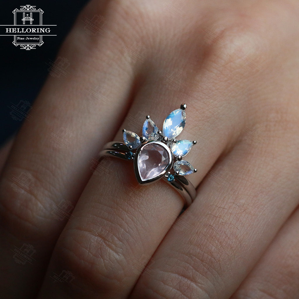 Rose Quartz Engagement Ring Set Women Moonstone Wedding Band Rose