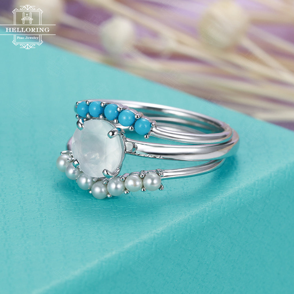 3pcs Moonstone engagement ring set white gold women Curved wedding band turquoise pearl ring Unique Stacking Jewelry Promise Gift for her