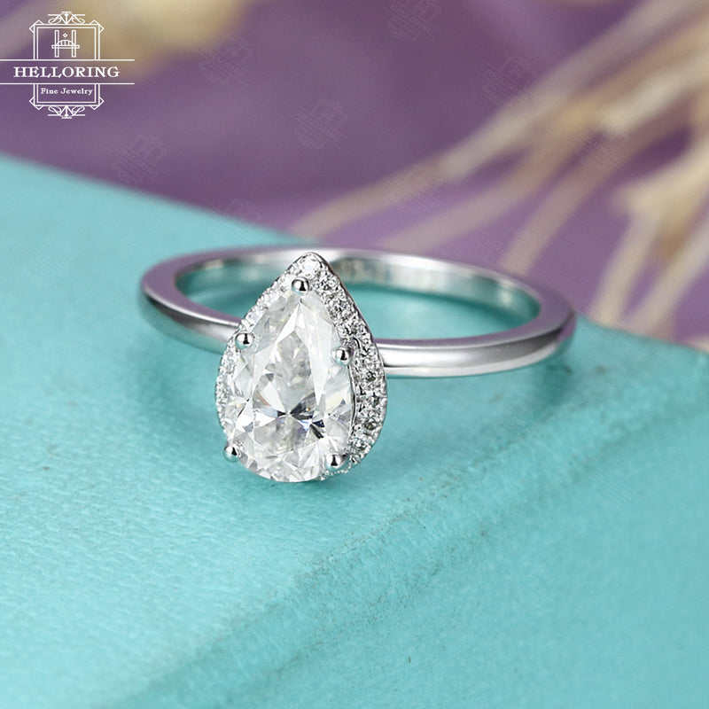 Moissanite engagement ring White gold Halo Diamond Pear shaped cut Unique Vintage Bridal Jewelry Anniversary gift for her Prong set Promise