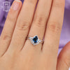 Sapphire Engagement Ring white Gold Vintage Diamond Wedding bands women Bridal set jewelry Simple Pear Shaped Cut Delicate Stacking Drop