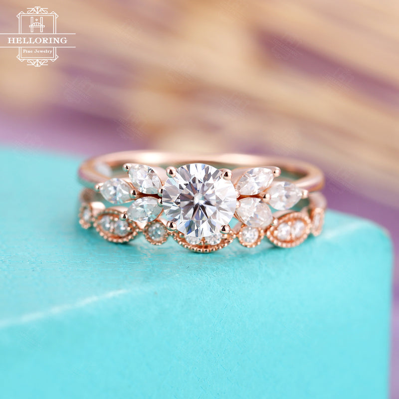 Vintage moissanite engagement ring set rose gold,delicate diamond wedding band women,unique Marquise diamond ring,Anniversary gifts for her