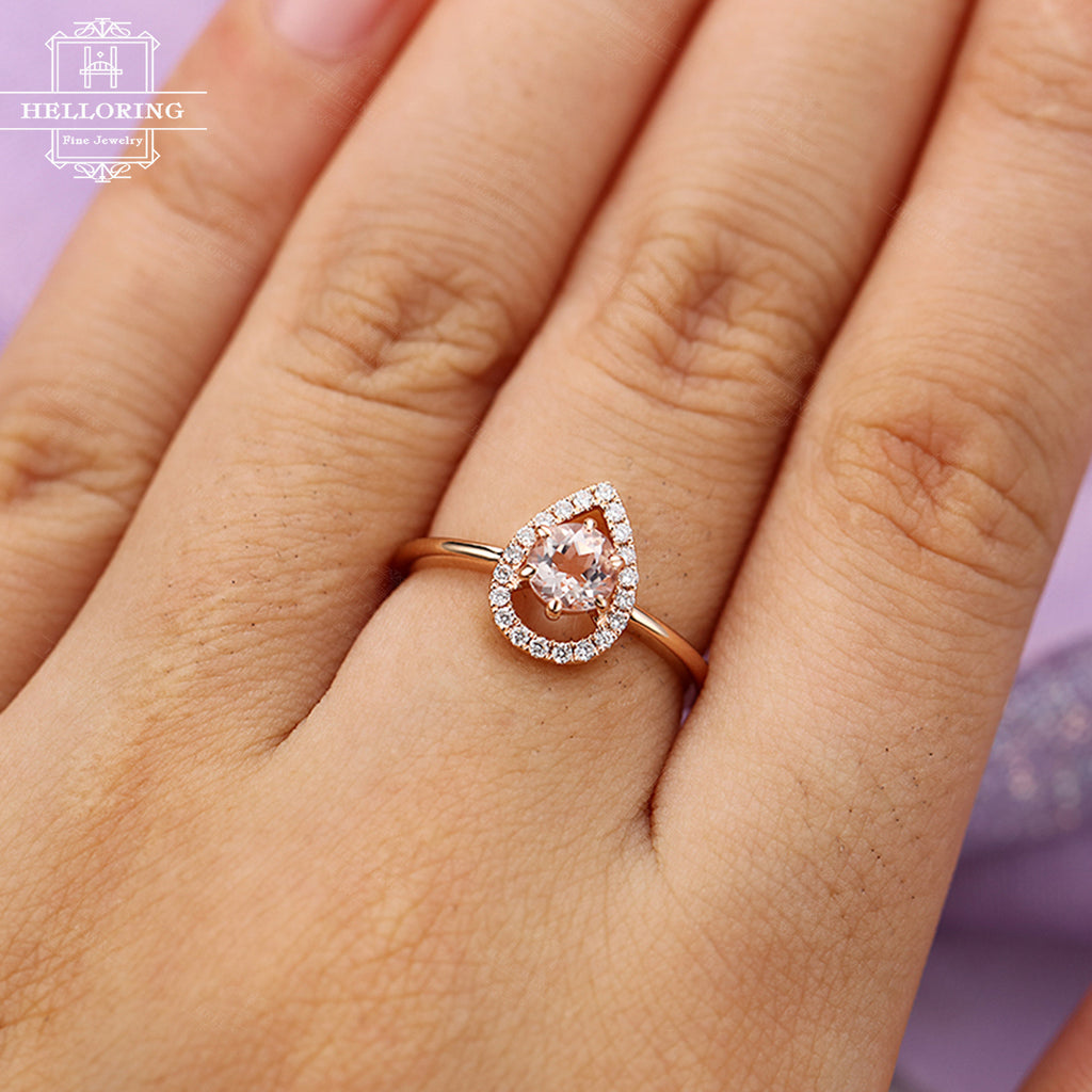 Morganite engagement ring Rose gold Halo set Diamond Unique Delicate Bridal Jewelry Anniversary gift for her Promise Prong set Alternative