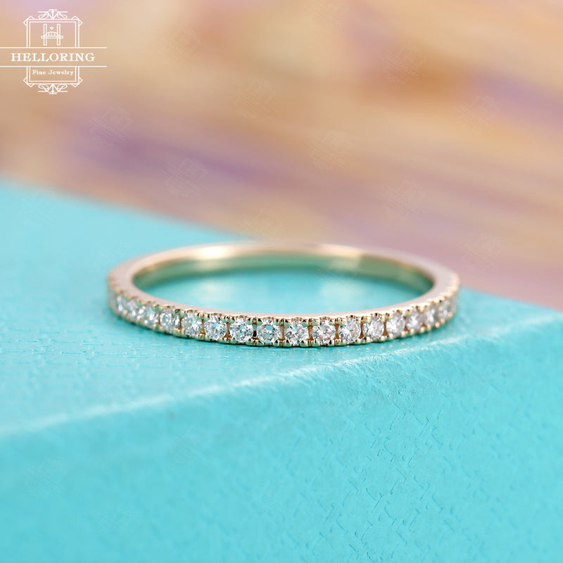 Vintage Diamond Wedding Band Women Rose Gold antique Half Eternity Band Stacking Bridal Simple Thin Dainty Promise Micro Pave Everyday