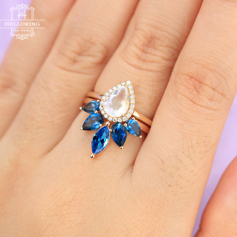 Moonstone Engagement Ring Vintage Curved wedding band Women Rose gold Topaz Diamond Marquise Pear shaped Bridal set Jewelry Anniversary gift