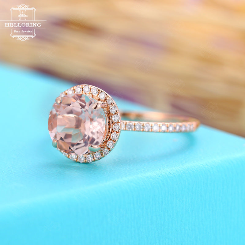 Pink Morganite Engagement Ring Rose gold Diamond ring for Women, Half Eternity, vintage Promise pink gemstone Jewelry gifts for her