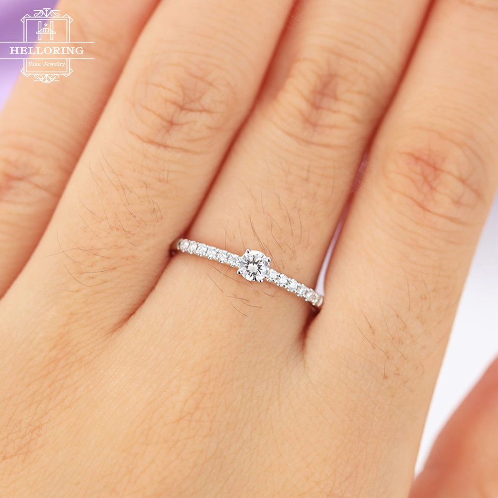 Diamond engagement ring rose gold Delicate engagement ring antique Bridal Jewelry Half eternity wedding women Dainty Petite Anniversary gift