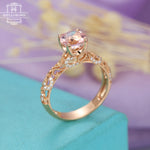 Morganite engagement ring Vintage engagement ring Rose gold Women wedding Antique Diamond Art deco Unique Milgrain Bridal Anniversary gift