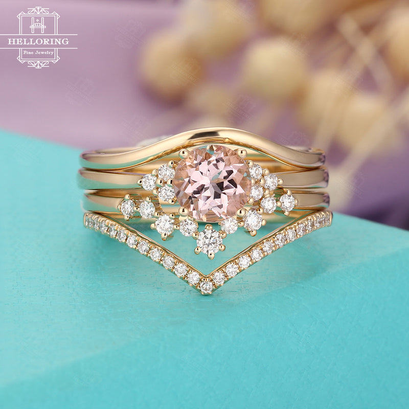 Morganite engagement ring set women,Unique diamond Moissanite, wedding ring Cluster Curved band Vintage jewelry,Anniversary gifts for her