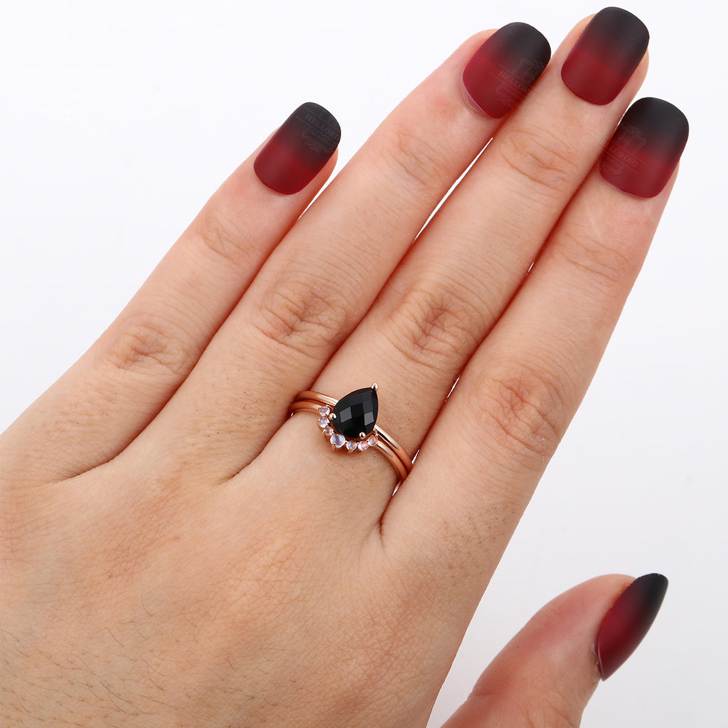 Unique Pear shaped black Onyx engagement ring for women moonstone wedding ring Anniversary gifts for her Vintage Promise jewelry prone set