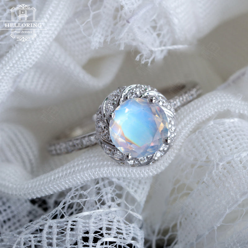 Moonstone engagement ring White gold Halo Vintage engagement ring Wedding Women Unique Flower Diamond Bridal Floral Anniversary gift for her