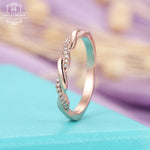 Diamond Anniversary Wedding band for her Rose gold half eternity ring for women Twisted band Vintage Infinity Simple Promise jewelry