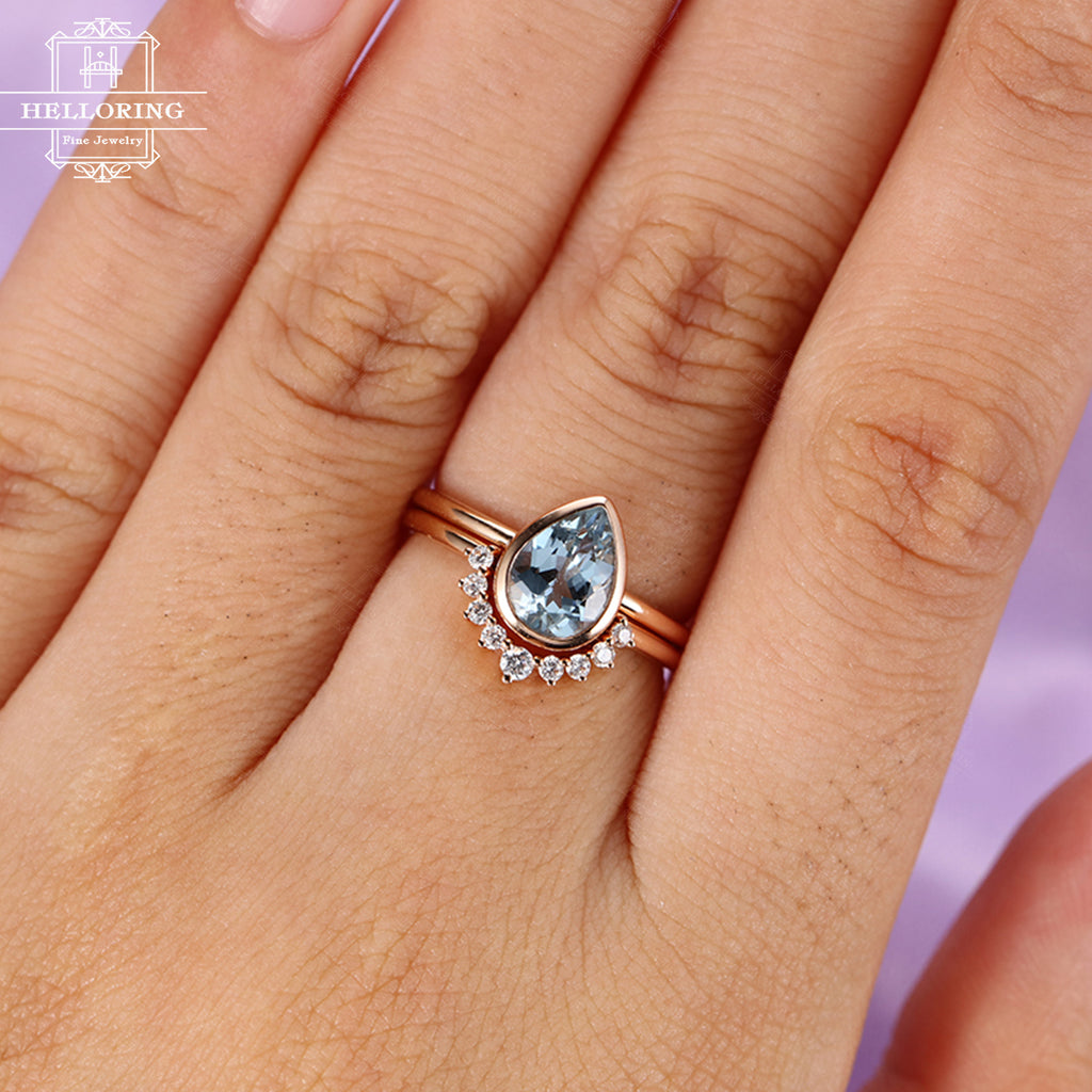 2PCS Aquamarine Engagement Ring set Vintage Diamond Wedding women Rose gold Bridal jewelry Simple Pear Shaped Cut Stacking Christmas gift
