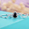 Vintage engagement ring set White gold Women 14k Pear shaped Black Onyx Halo Diamond Curved Wedding band Anniversary gifts for her