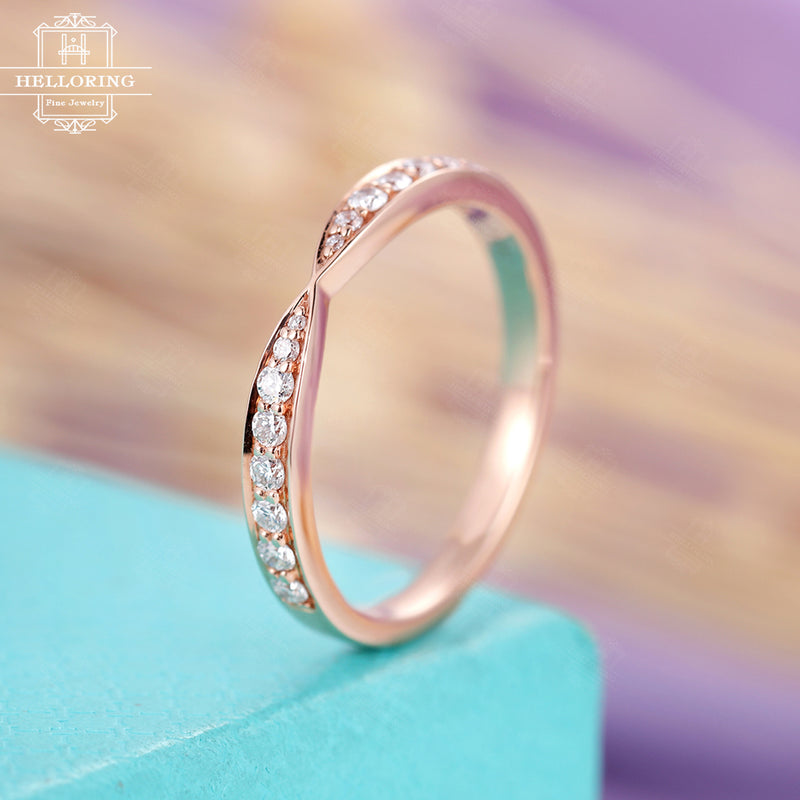 Moissanite Wedding band White Gold Stacking ring matching Half eternity everyday rings Pave Chevron Anniversary gift for women Anniversary